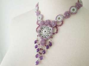 irish crochet necklace 0514