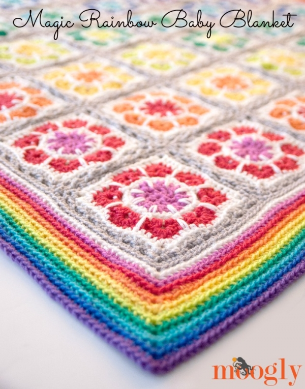 Free Pattern Magic Rainbow Baby Blanket   Crochet