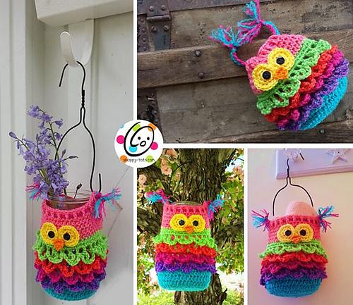 free pattern � bonbon owl mason jar cover � crochet