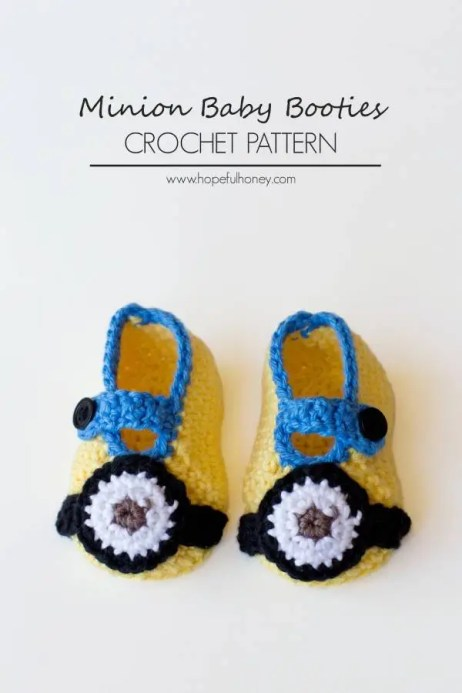 Minion Inspired Baby Booties Crochet Pattern 3