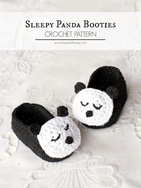 Sleepy Panda Baby Booties Crochet Pattern 4