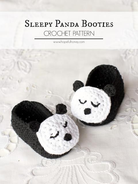 Sleepy Panda Baby Booties Crochet Pattern 4