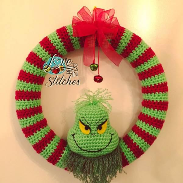 Free Pattern Grinch Christmas Wreath Crochet