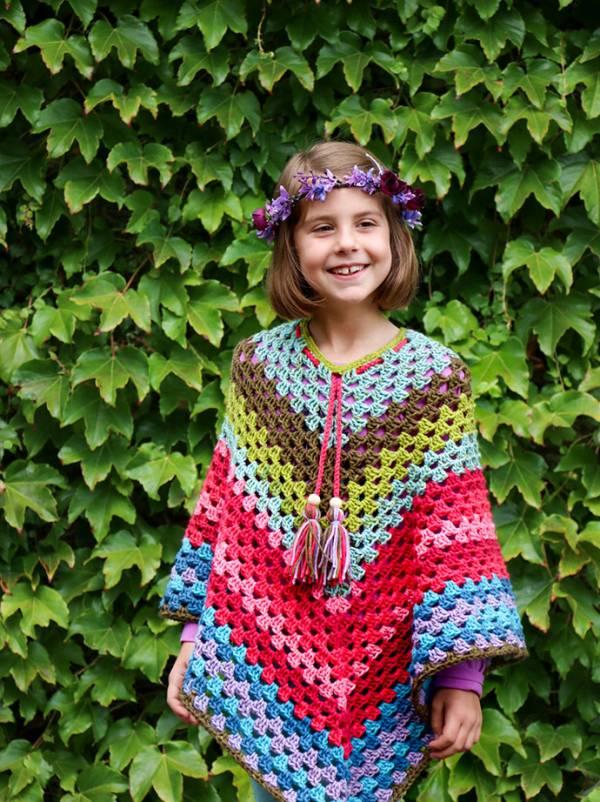Caron Cakes Rainbow Poncho Pattern Crochet
