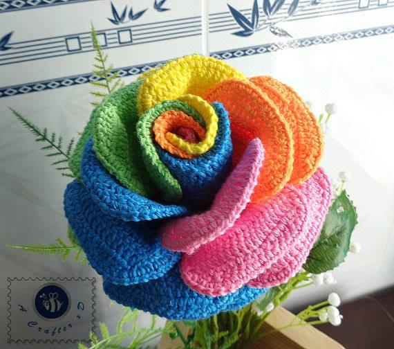 Rainbow Rose Crochet Pattern Crochet