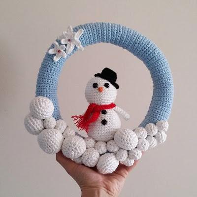 Crochet Amigurumi Pattern Snowman Wreath Crochet