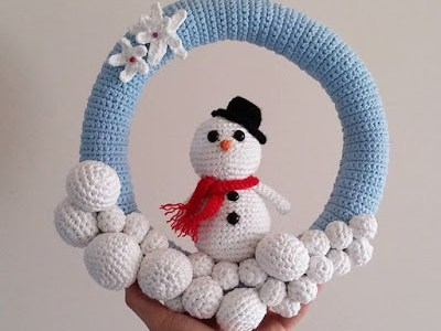 Crochet Amigurumi Pattern – Snowman Wreath
