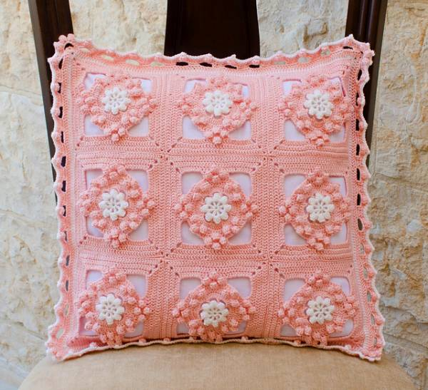 Crochet Rose Granny Square Cushion Pattern