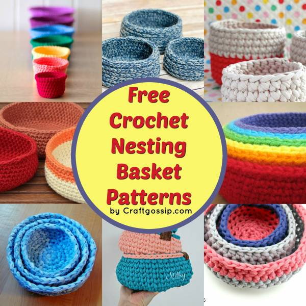 T-Shirt Yarn Crochet Basket With Handles Free Pattern   E'Claire ...   600x600