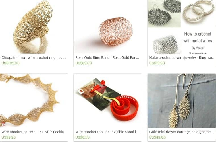 Crochet Wire Jewelry Patterns and Bridal Jewelry by Yoola on Etsy.clipular