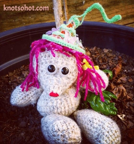 crochet polar bear with crochet fairy hat