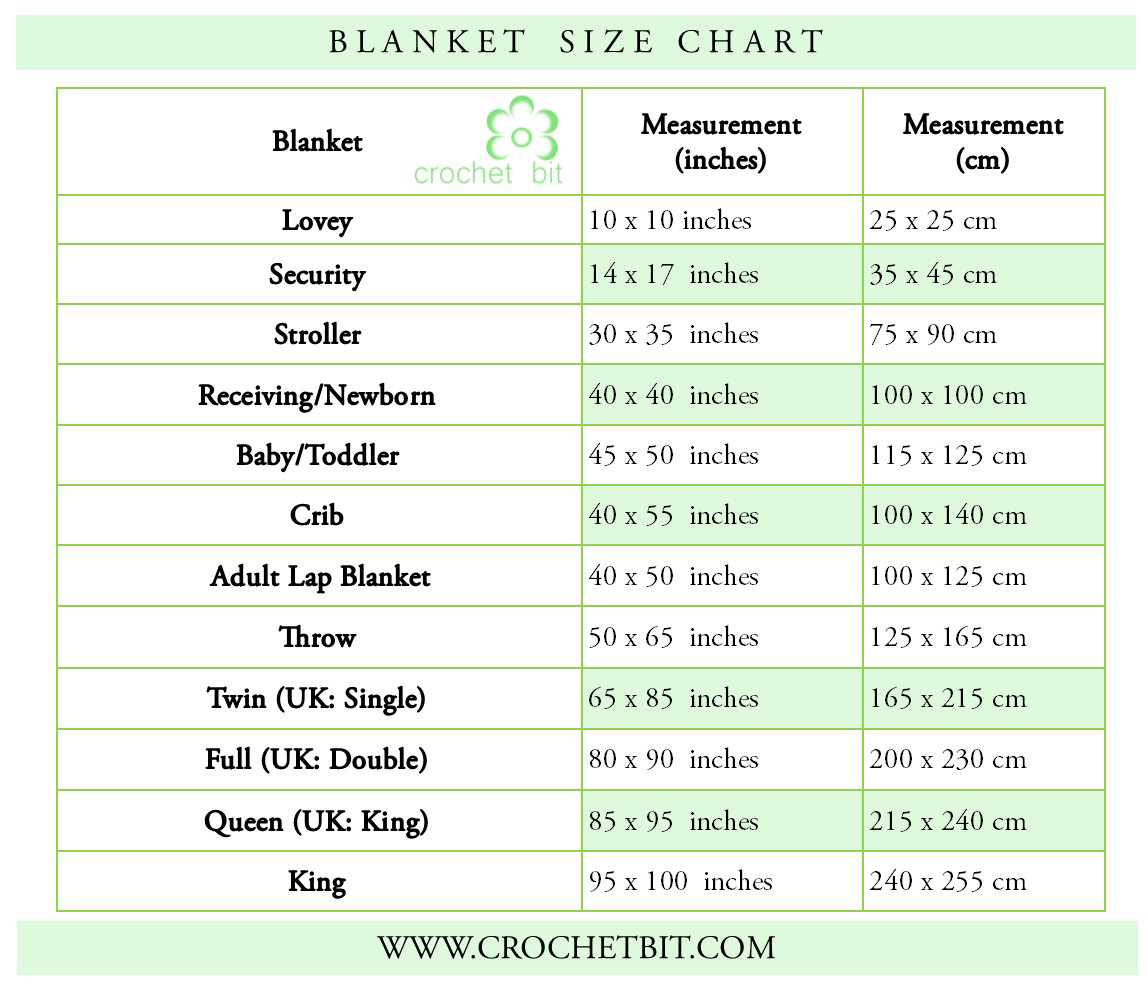 Knit and Crochet Size Charts