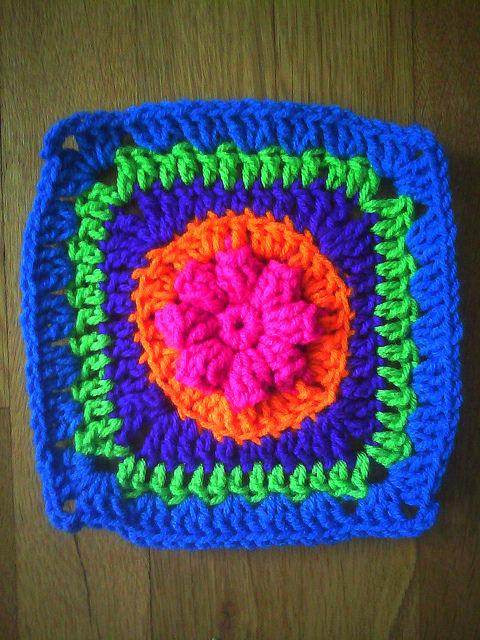 multicolor crochet granny square