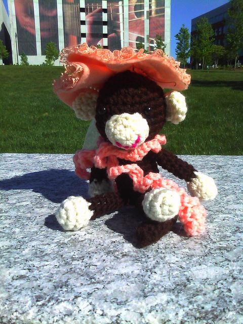 A crochet monkey at DPAC