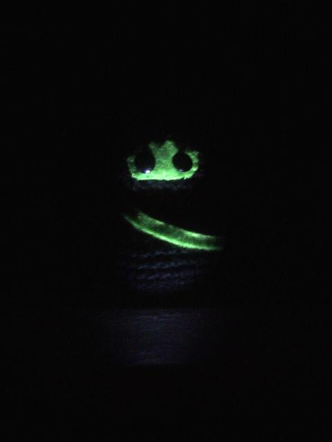 amigurumi ninja at night