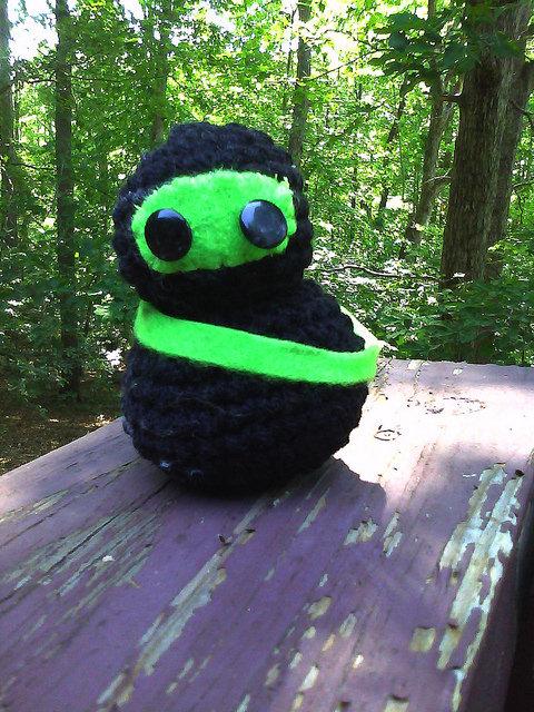 crochet ninja in the wood