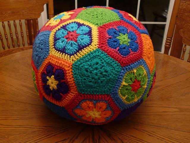crochet soccer ball made from crochet hexagon and crochet pentagon motifs