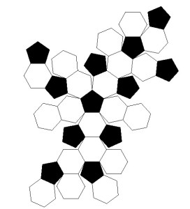How to layout the pieces for a crochet soccer ball