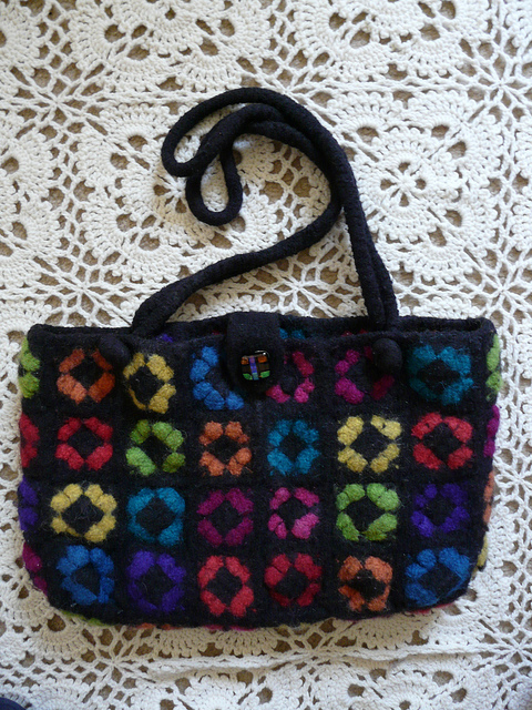 """My mother's """"too good to use"""" felted granny square purse"""