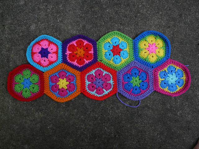 Two of eleven rows for a Mary Poppins bag made of crochet hexagons