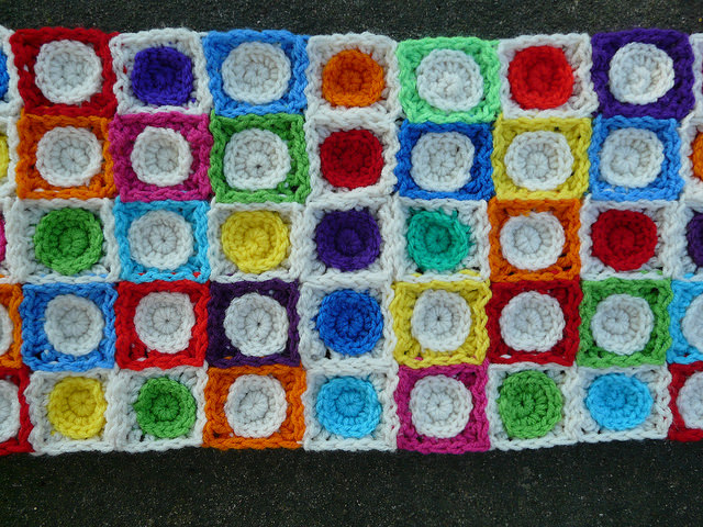 crochet squares, crochet circles