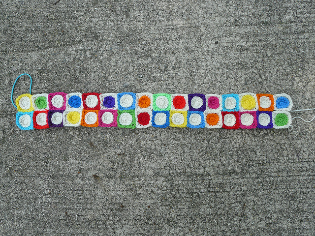 crochet squares and crochet circles joined as a result of setting aside thinking for doing