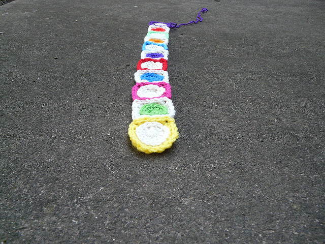 eleven crochet squares