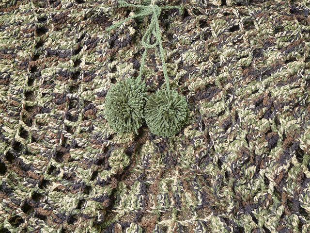 crochet circle jacket pom poms