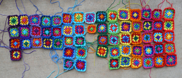 An array of squares for the  go-go granny dress I worked on the day after Thanksgiving