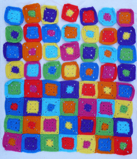 crochetbug, crochet squares, crochet color permutations, crochet blocks, granny squares, crochet cat runner
