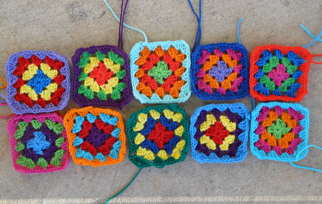 The ten crochet squares I got done before sunset as the countdown to December continues