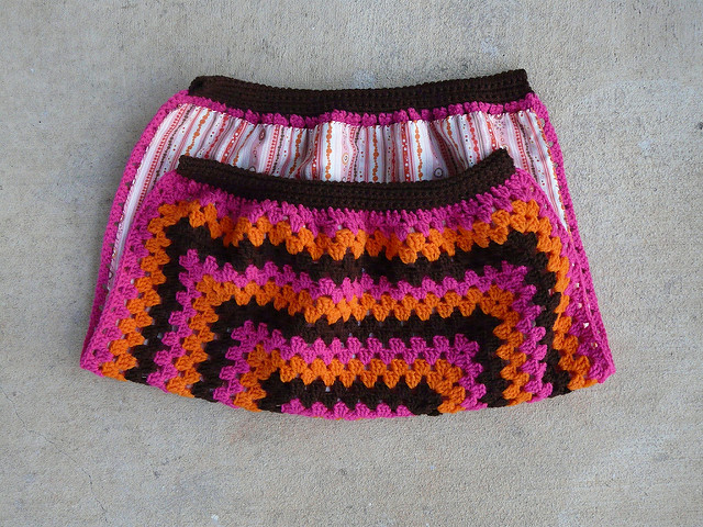 fabric lined crochet fat bag