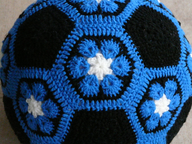 Detail of the Duke blue crochet soccer ball that I had to get done before Christmas