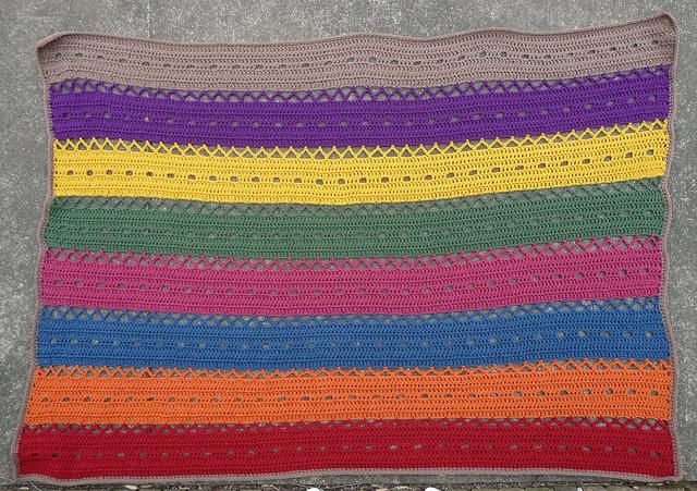 striped crochet blanket, crochetbug, crochet afghan, crochet throw