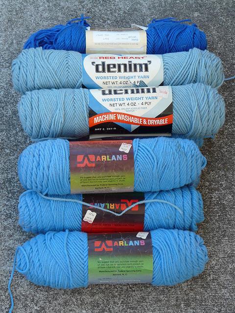 skeins vintage blue yarn