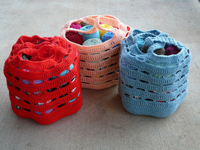 three crochet stash baskets crochet bags yarn stash