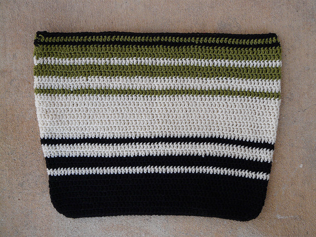 A wool crochet bag before felting