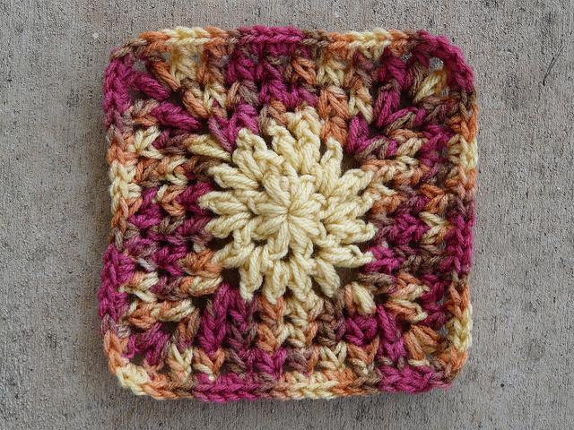 crochet granny square with petal crochet stitch