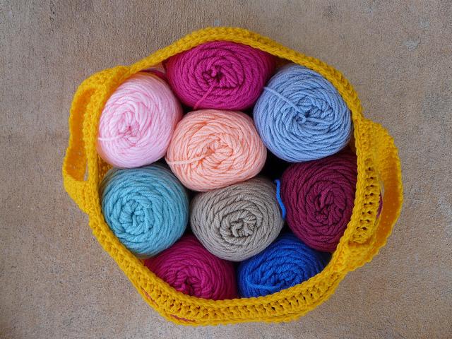 crochet stash basket filled with yarn