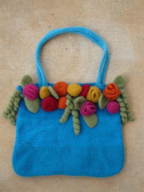 felted crochet rose garden tote