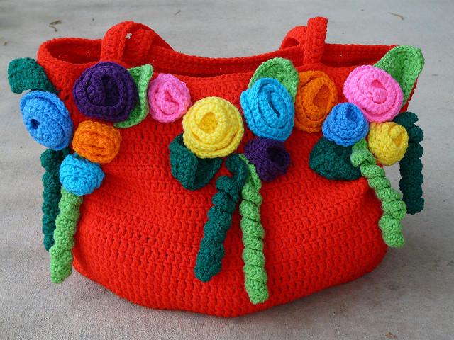 crochet rose garden tote