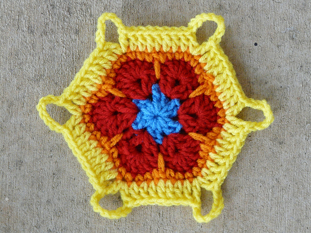 African flower crochet hexagon variation