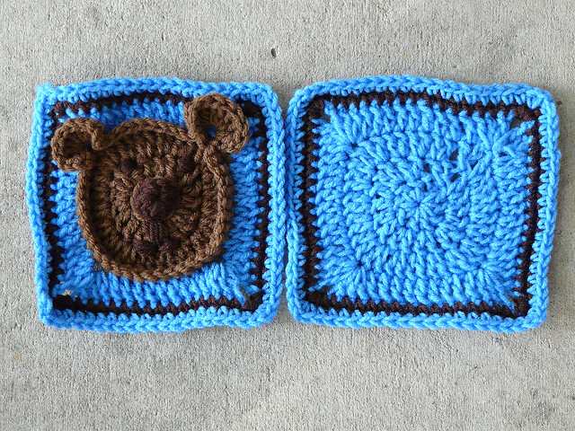 Teddy bear crochet square and plain companion granny square