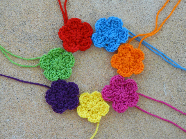 seven crochet flowers
