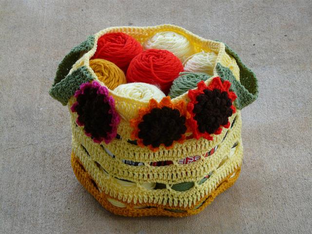 crochet sunflower stash bag