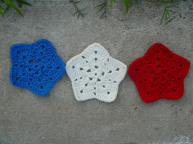 red, white, and blue crochet stars