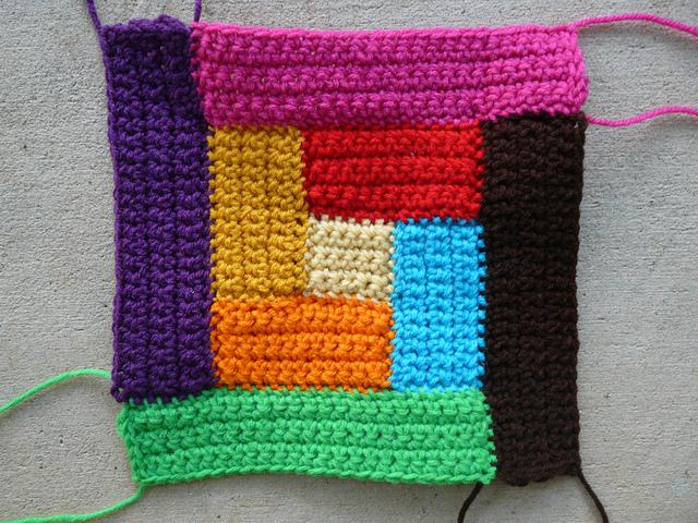 Bauhaus crochet quilt motf iv demonstrating what can happen when yarn speaks