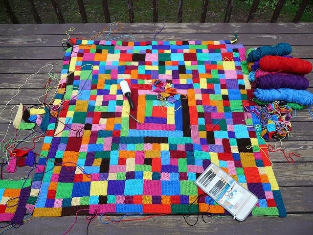 crochet quilt block blanket