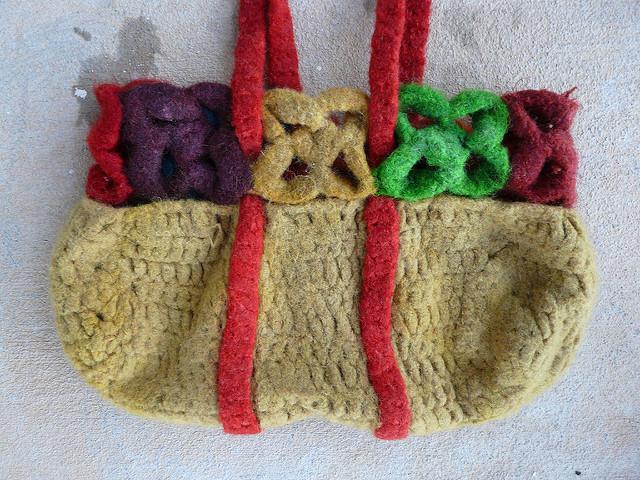 the crochet purse after felting