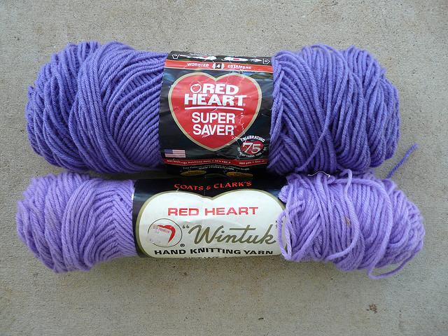 two lavender yarns